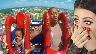 Dad tries to save son on roller coaster then this happens...