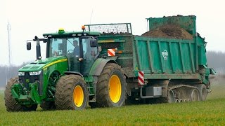 Spreading chicken manure   John Deere 8360R & Tebbe HS240 spreader on tracks   ERF
