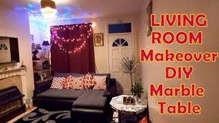 Living Room Makeover | DIY Marble Table at Home | Living Room Tour | Decoration Ideas