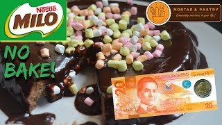 30 PESOS NO BAKE MILO CAKE! | HOW TO MAKE 3-INGREDIENT FLOURLESS CAKE | Ep. 12 | Mortar & Pastry