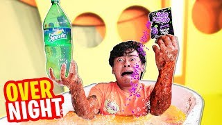 Trapped OVERNIGHT in SPRITE and POP ROCKS!