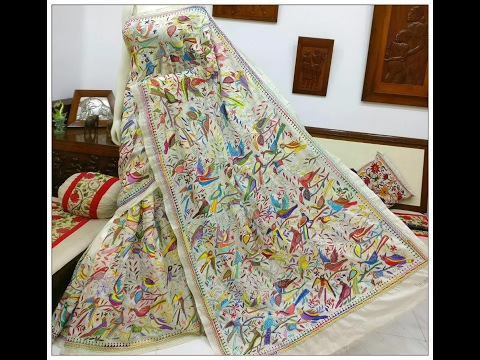 designer kantha work sarees