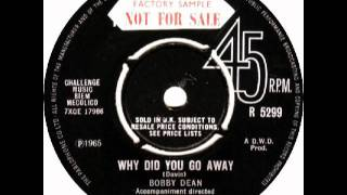 RARE TEENER Bobby Dean - Why did you go away