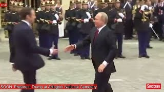 President Vladimir Putin of Russia and Emmanuel Macron Arrive at Palace of Versailles