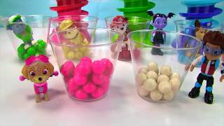 Learn Colors with Paw Patrol Vampirina Gumball Machine Banks | Fizzy Fun Toys