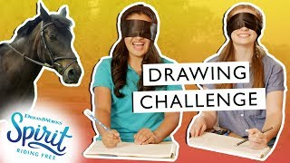 Blindfolded Horse Drawing Challenge! + How the Draw a Horse! | THAT'S THE SPIRIT