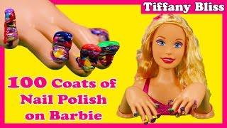 100 Coats of Nail Polish on BARBIE Doll   #POLISHMOUNTAIN