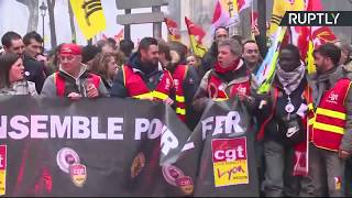 Rally against Macron's public sector reforms (recorded live)
