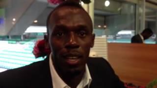 A few word from Usain Bolt to Emmanuelle & Amaury