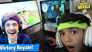 My 10 Year Old Little Brother Plays Like Ninja On Fortnite!