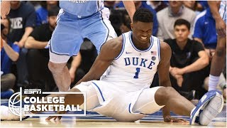 Zion Williamson leaves with a knee injury, as UNC rolls vs. Duke   College Basketball Highlights