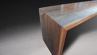 Building a modern bench with mitered legs and waterfall grain - Woodworking