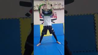 Roman Nepota shows the exercise with the Bulgarian Bag
