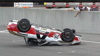 Global MX-5 Cup 2017. Race 2 Barber Motorsports Park. Tim Probert Start Crash Flip