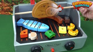 Best Learning Video for Kids: Learn Foods Names Fun Wooden Preschool Food Cutting Toy Grill for Kids