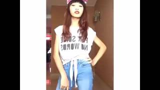 Musical.ly erissa puteri with her hoverboad