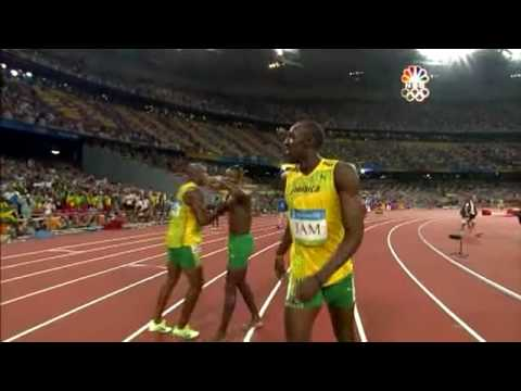 watch Usain Bolt - 6 World Records in 100m (9.72, 9.69, 9.58), 200m (19.30 19.19), 4x100m relay (37.10)