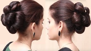 Flower Bun Hairstyle for Girls   Easy Hairstyle for Long Hair   Hairstyles Tutorial