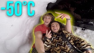 LIVING INSIDE A HOMEMADE IGLOO! **snow fort**