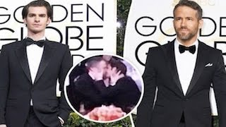 Golden Globes 2017- Ryan Reynolds And Andrew Garfield Kiss After Gosling Wins At Globes