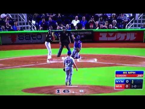 Dee Gordon crys emotional Homerun honors Jose Fernandez Vs Mets