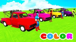 COLOR Truck & McQueen w/ Superheroes Cartoon for children and baby Nursery rhymes