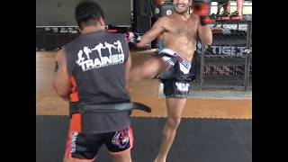 Amir Naseri kicking pads to prepare for I-1 Grand Xtreme 2018