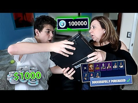 Kid Buys 100,000 V-Bucks on FORTNITE with Mom's Credit Card (MUST SEE)
