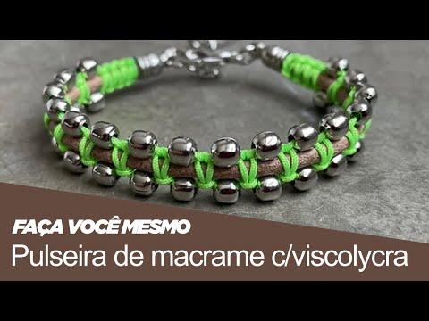 Tv Transamérica Pulseira de macrame com viscolycra e brinco