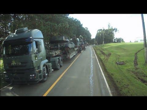 Carretas IVECO com prancha 4 eixos do Exército Brasileiro com CC Leopard