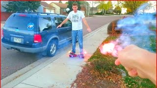 Hoverboarding with FIREWORKS!