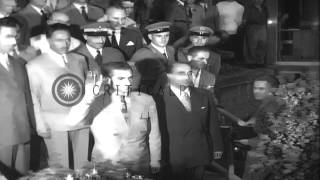 Shah Mohammed Reza Pahlavi of Iran leaves Rome by plane en route to Iran via Bagh...HD Stock Footage