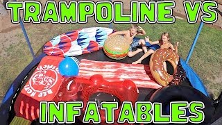 TRAMPOLINE FILLED WITH INFLATABLE TOYS