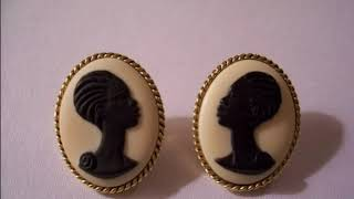 Copy of The Black Cameo Pierced Earrings Coreen Simpson