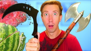 5 VIDEO GAME WEAPONS in REAL LIFE - Castle Crush vs Fruit Ninja (Unboxing)