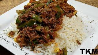 Ground Beef And Veggies Over Rice