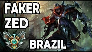 SKT T1 Faker plays ZED vs AHRI MID Ranked Master Brazil