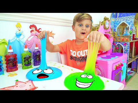 Roma and Diana are playing with slimes Fun games with dad