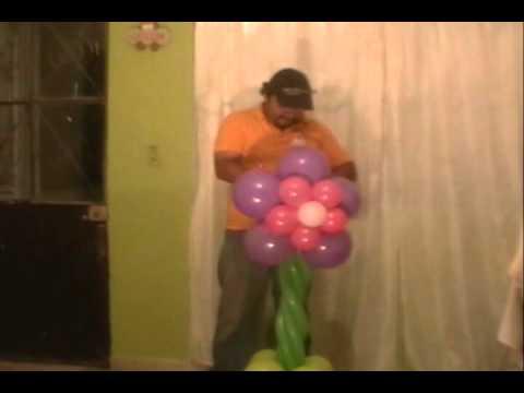 curso decoracion con globos columna de flores