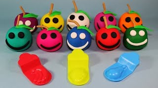 Learning Colours with Play Doh Apples Smiley Face with Bananas Strawberry Pear Molds Fun & Creative