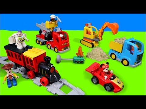 Lego Duplo játékautó kicsomagolás magyarul markoló tűzoltó vonat gyerekeknek