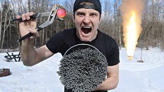 1000 DEGREE METAL BALL vs 10,000+ SPARKLERS (EXTREME DANGER) EXPLOSION?