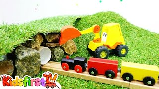 Toys and videos for kids. Excavator Max and toy train 🚂. Tunnel for train. Toy story & train videos