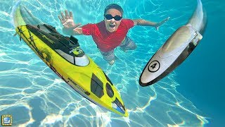 RC Boats Underwater Swimming Pool!!