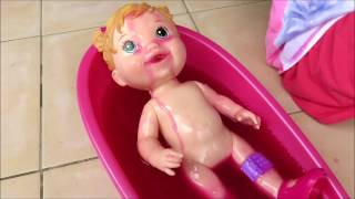 Baby doll slime bath baby alive boo boo pink Slime Baff goo bathing playing