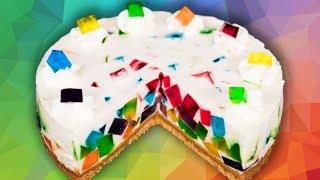 Rainbow Jello Cake from Cookies Cupcakes and Cardio