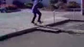ali ollieing 6 boards off a curb