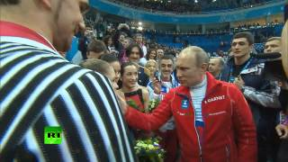 Vladimir Putin thanked USA figure skaters and congratulated russian with victory