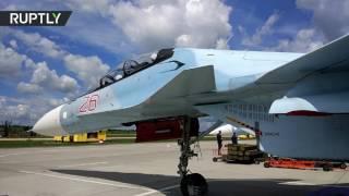 شاهد دقة الطيارين الروس في رمي القنابل من طائرات لسوخوي