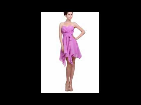 Angelia Bridal Women's Strapless Irregular Chiffon Cocktail Dress